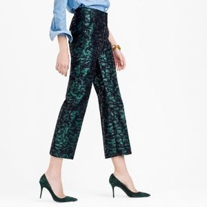 J Crew Patio Pant in Evergreen Jacquard Size 6